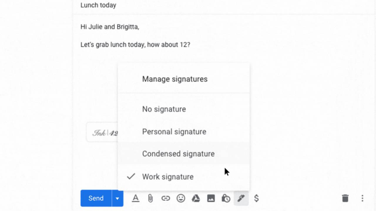 Gmail is rolling out support for multiple email signatures
