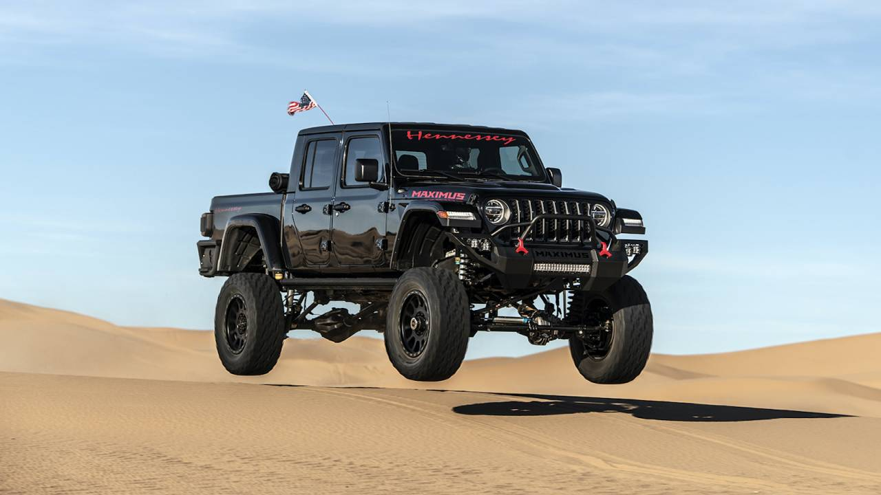 Watching Hennessey's ridiculous MAXIMUS pickup leap sand dunes is vicarious quarantine fun