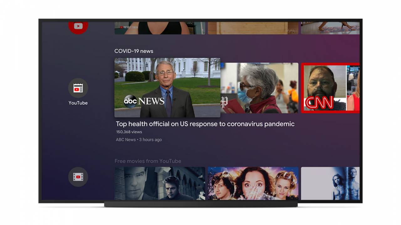 Android TV gets new rows for COVID-19 news and free movies