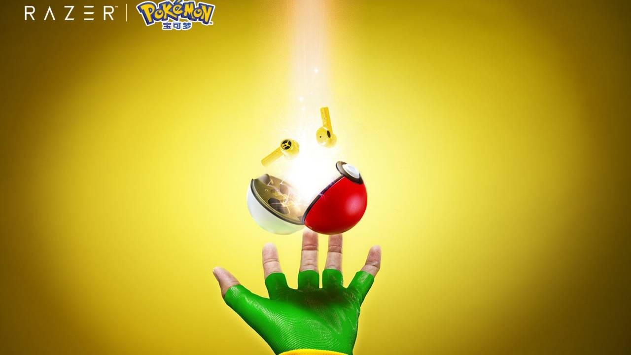 Razer Pikachu TWS earbuds charge inside a Poké Ball