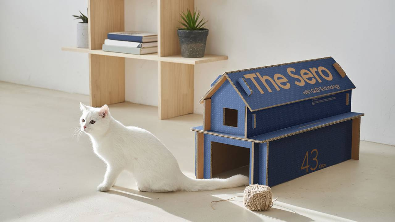 Samsung's new TV packaging transforms into cardboard cat houses
