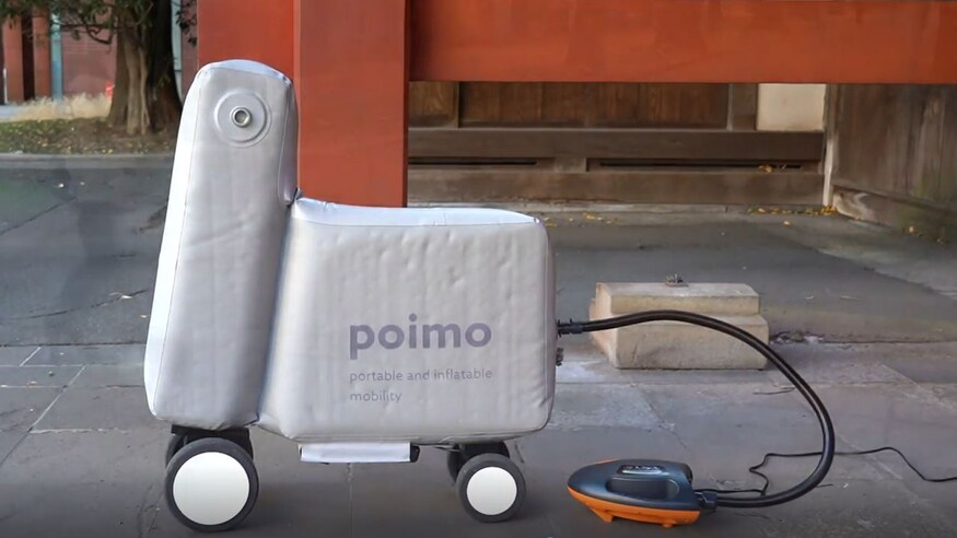 This Poimo inflatable scooter fits neatly in your backpack