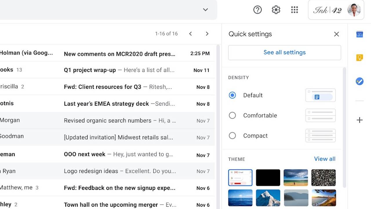 This new Gmail quick settings menu is an inbox godsend