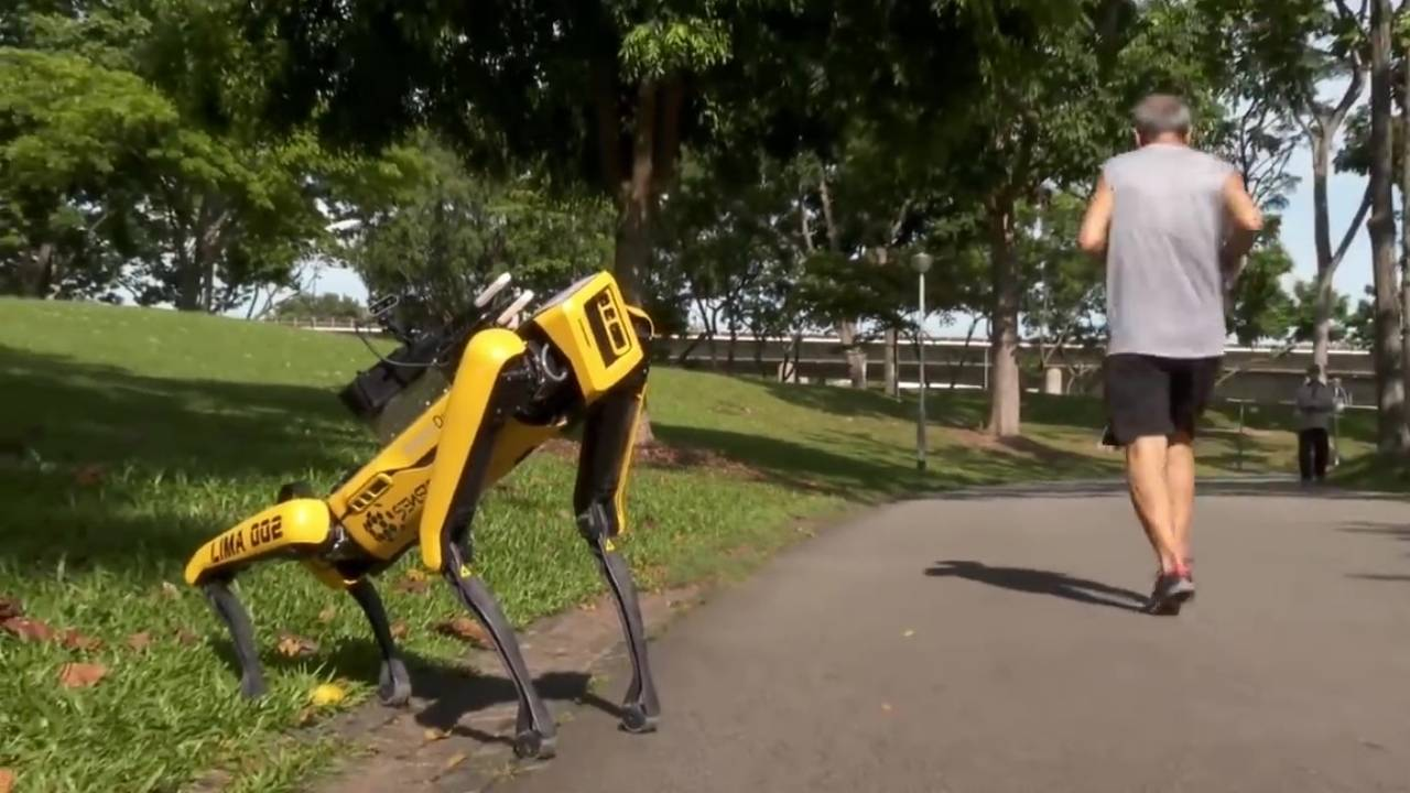 Spot robot dog used to implement social distancing in Singapore parks