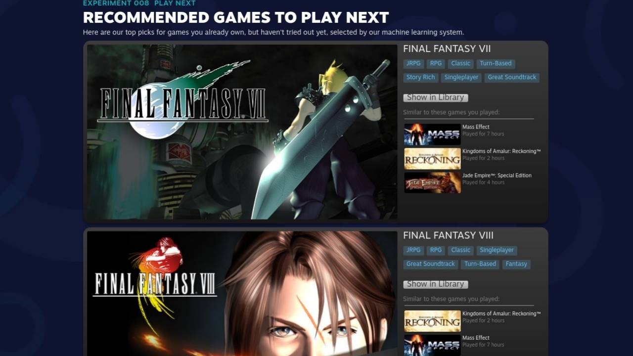 Steam Experiment 008 Play Next now officially in Steam Library