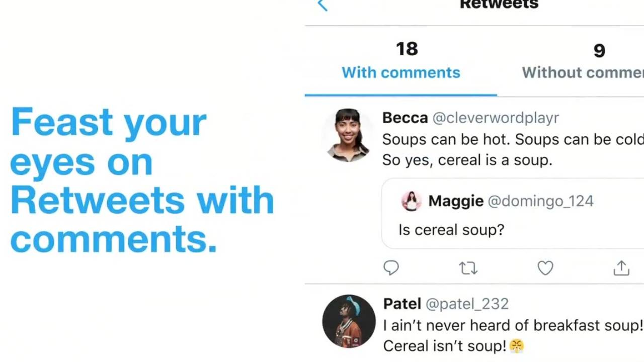 Twitter on iOS now separates retweets with comments and those without