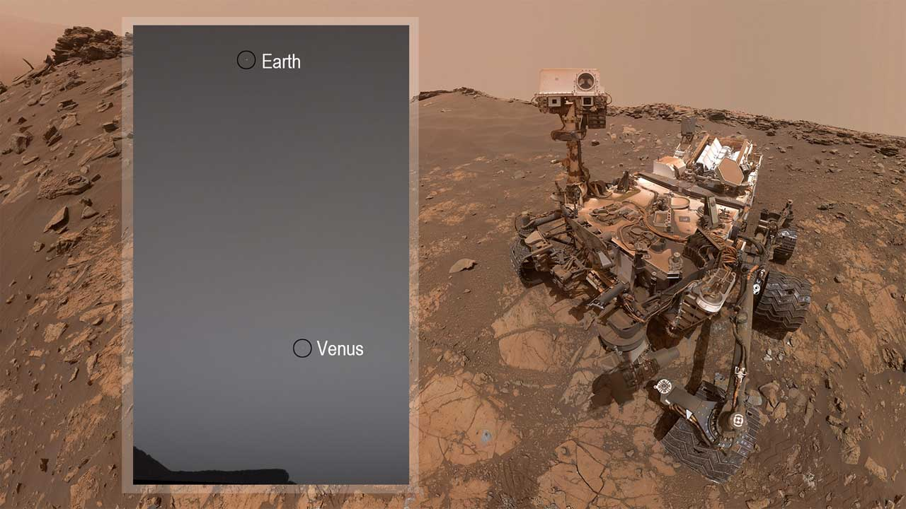 NASA's Curiosity Mars Rover snaps a picture of Earth and Venus