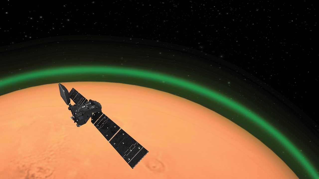 ESA ExoMars Trace Gas Orbiter detects green glow around Mars