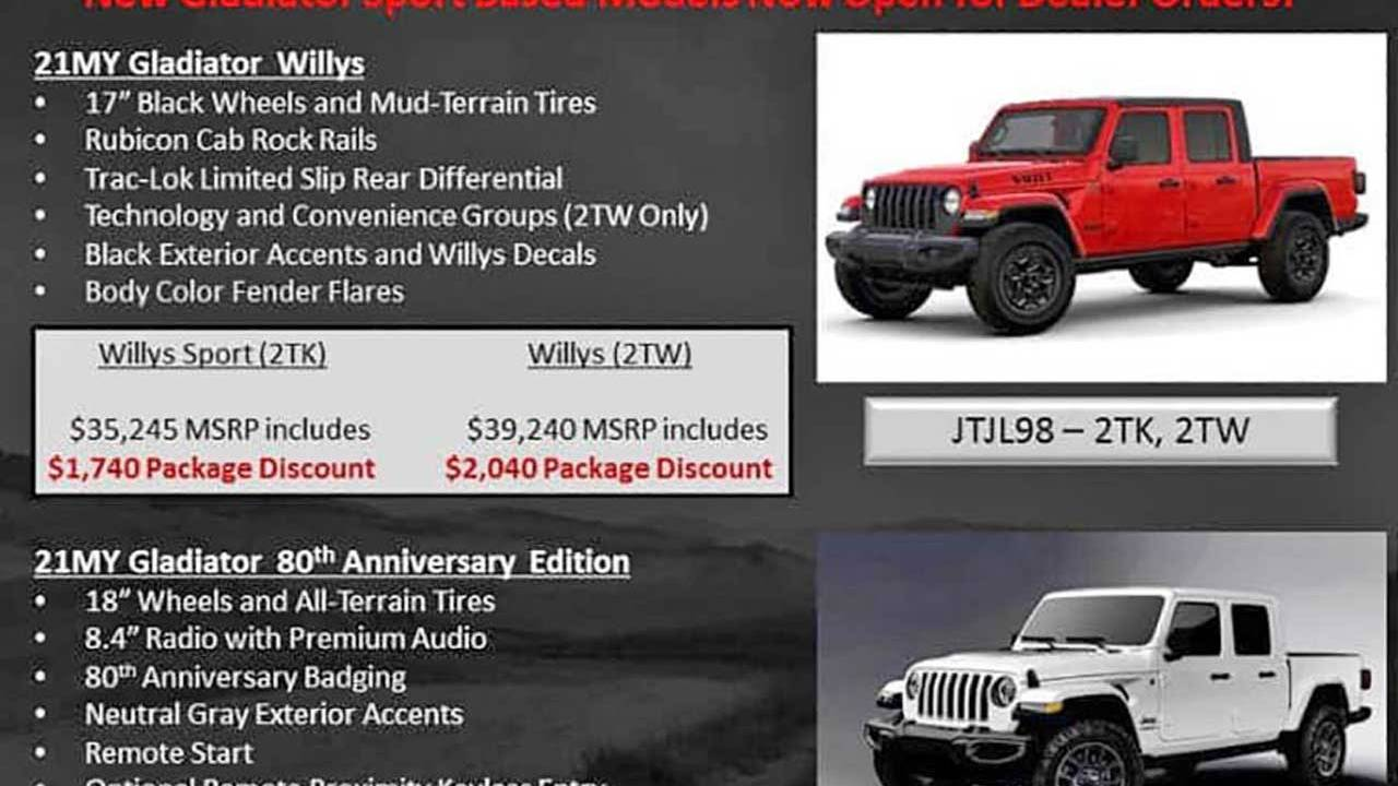 Order guides hint at 2021 Jeep Gladiator Willys Edition and more
