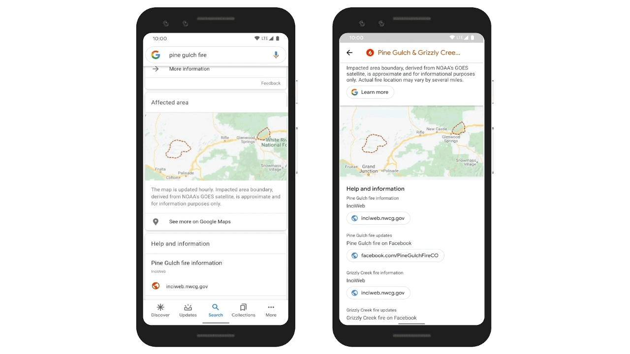 Google Search and Maps now show wildfire info, boundaries