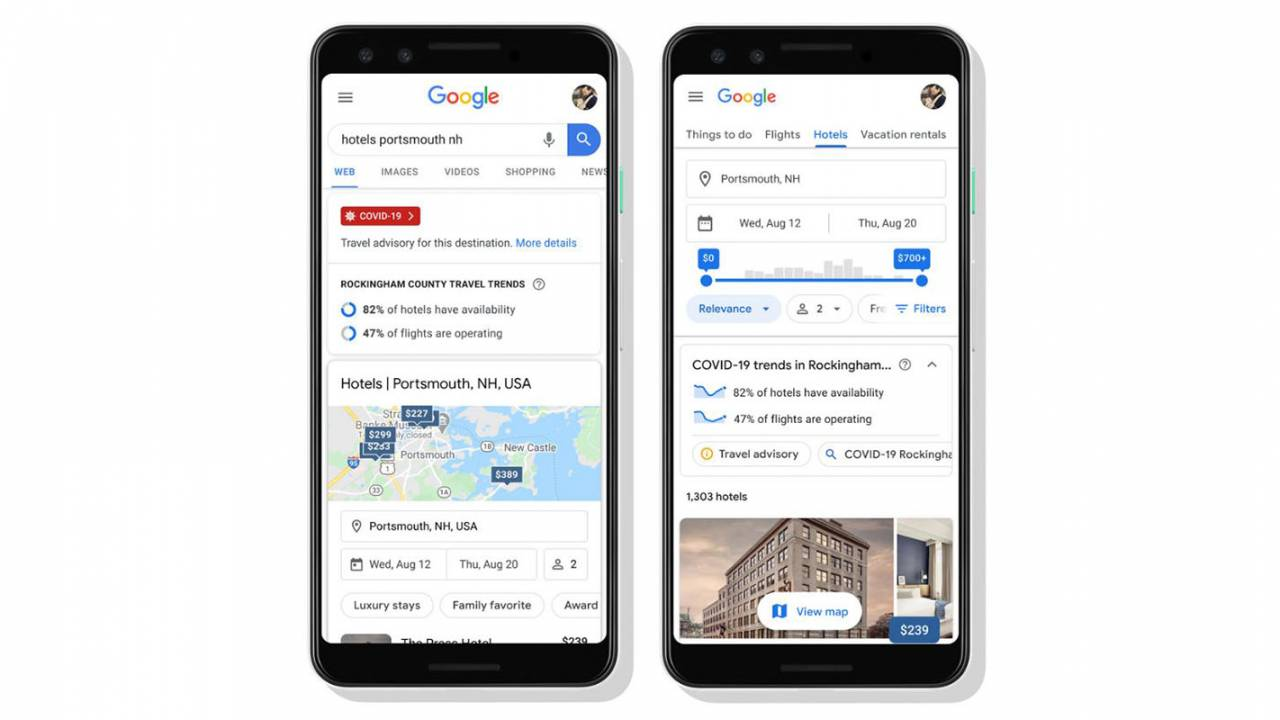 Google Search gets new tools to help travelers during the pandemic