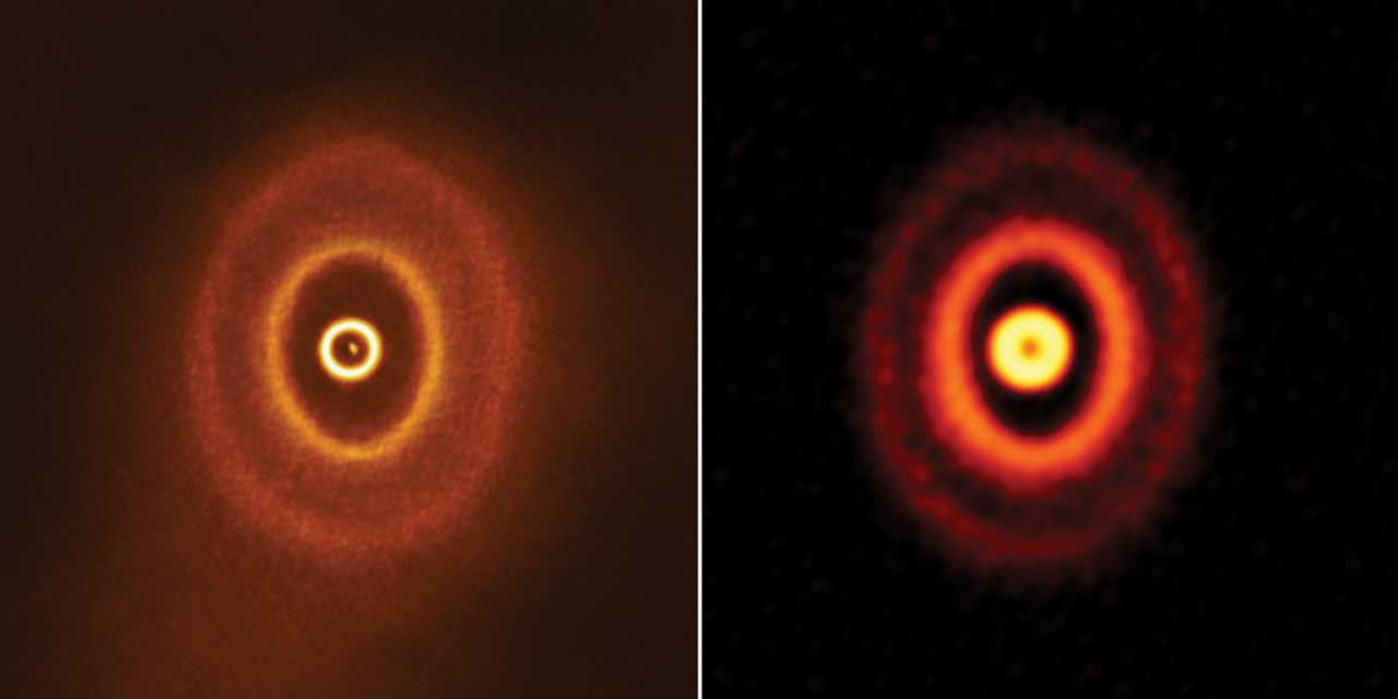 ALMA discovers planet-forming disk with misaligned rings around a triple star system
