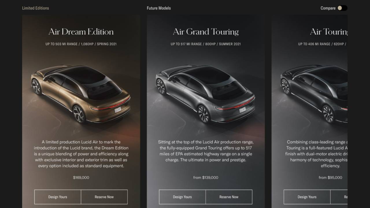 Lucid Air configurator taps next-gen console tech for more realistic EV orders