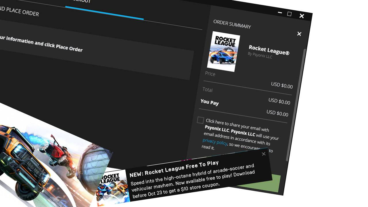 Epic Games gives you $10 credit to take Rocket League for free