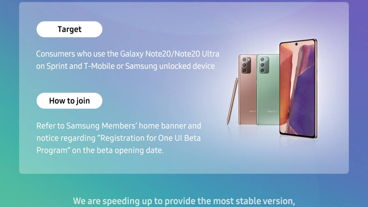 Galaxy Note 20 One UI 3 Beta opens registrations in the US