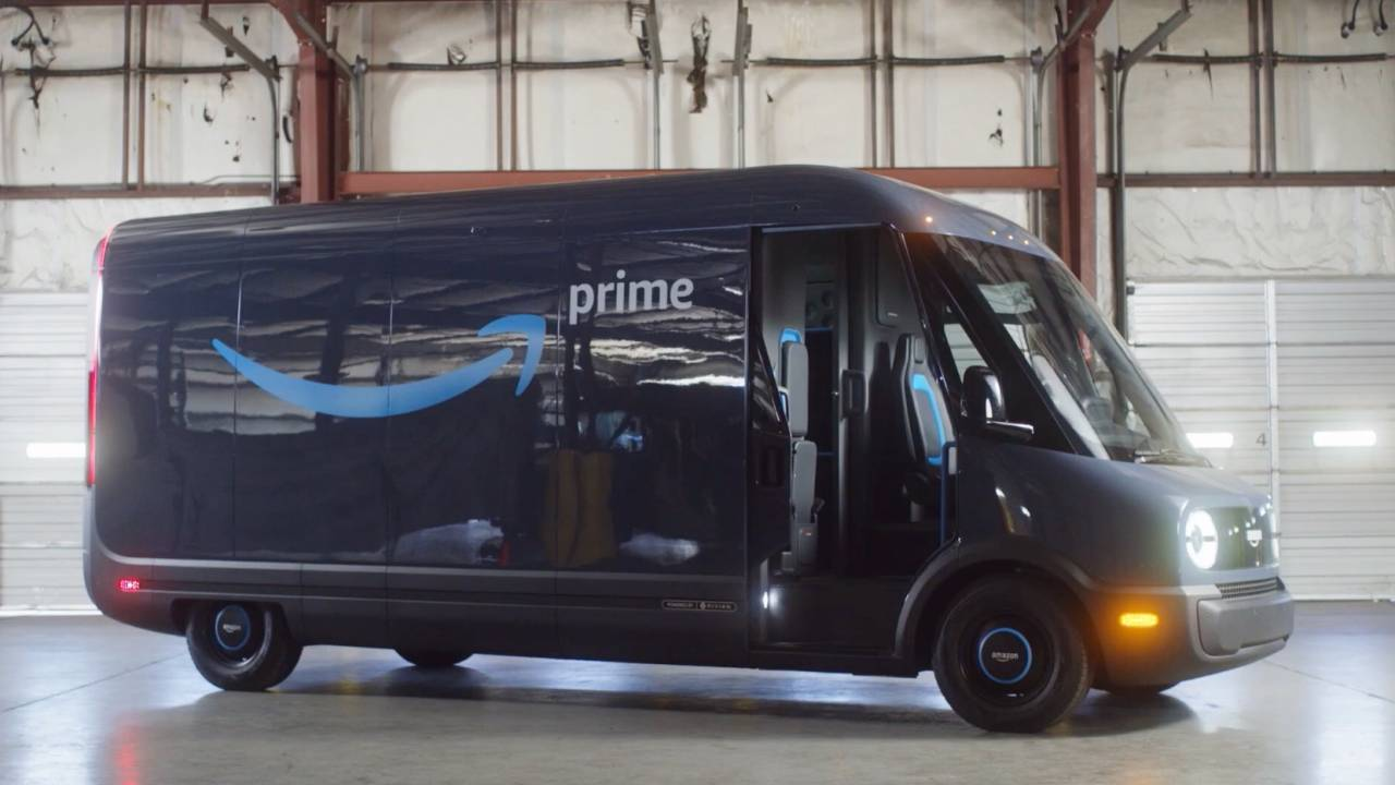 Check out the first Rivian-made Amazon electric delivery van