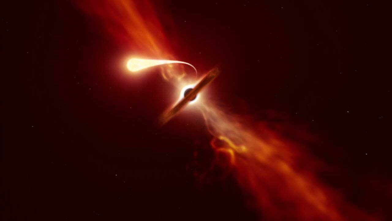 ESO telescopes record the final moments of a star being consumed by a black hole
