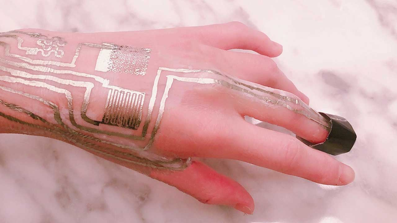 Metallic wearable sensors printed directly on the skin require no heat