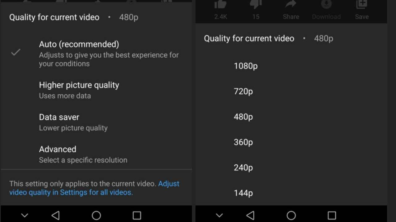 YouTube setting allows users to choose a default video quality