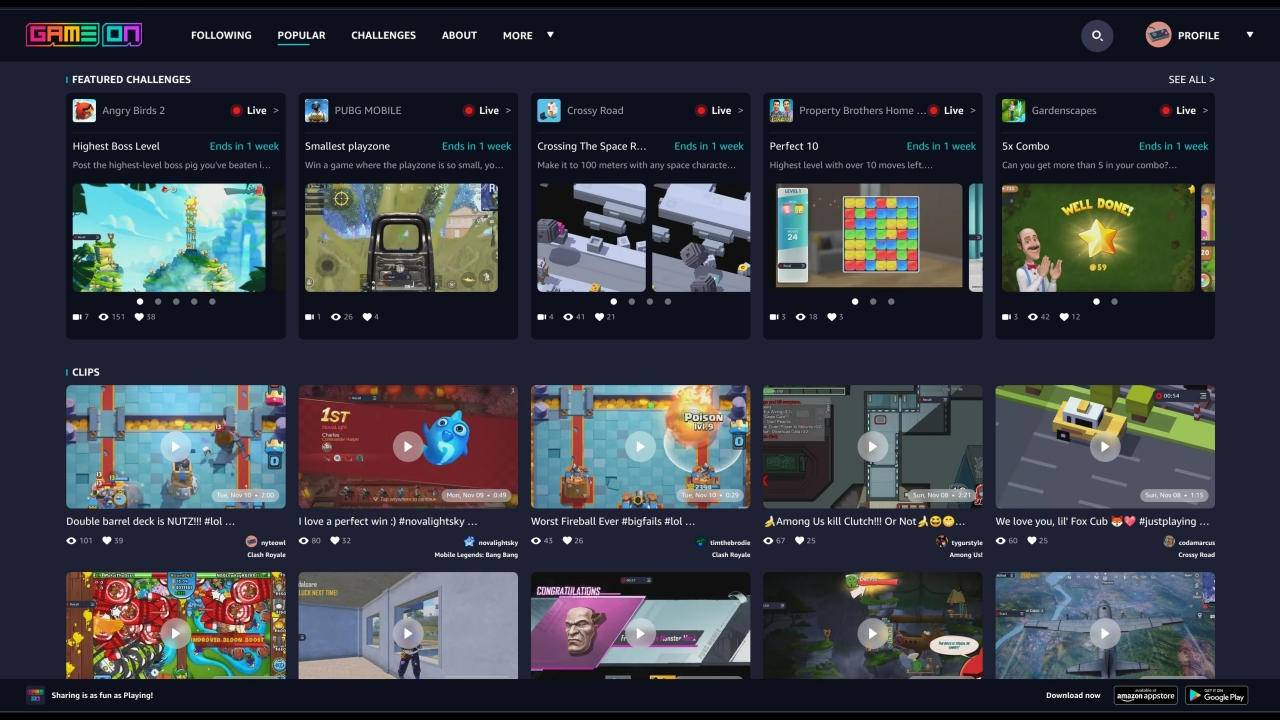 Amazon GameOn is a social network for mobile gameplay clips