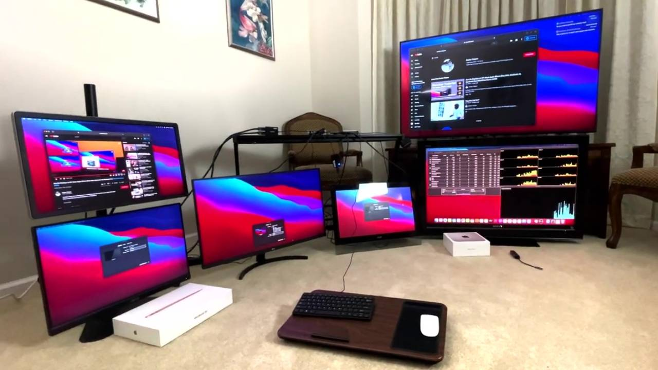 M1 Macs can run up to six displays with a workaround