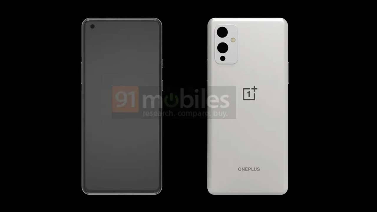 OnePlus 9 CAD render show off three cameras and a punch-hole display