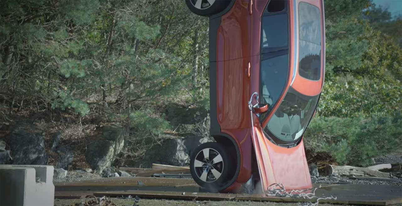 Volvo dropped vehicles from a crane for extreme crash testing