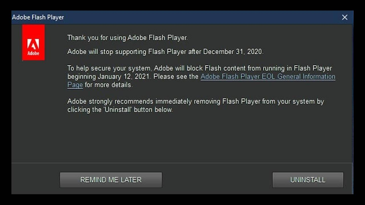 Adobe Flash warnings start popping up on Windows 10