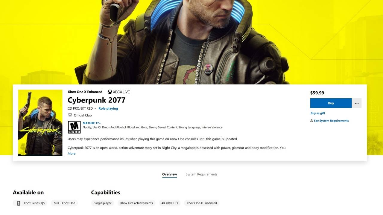 Cyberpunk 2077 on Microsoft Store gets a warning, save file limits revealed