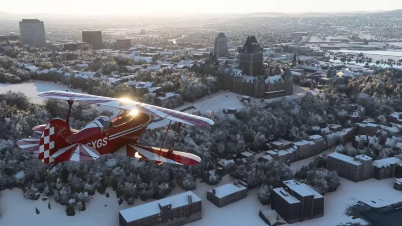 Microsoft Flight Simulator real-time snow update serves up a winter wonderland