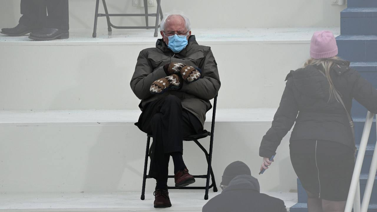 "Bernie ""once again asking"" meme Burton jacket and mittens win Biden inauguration"