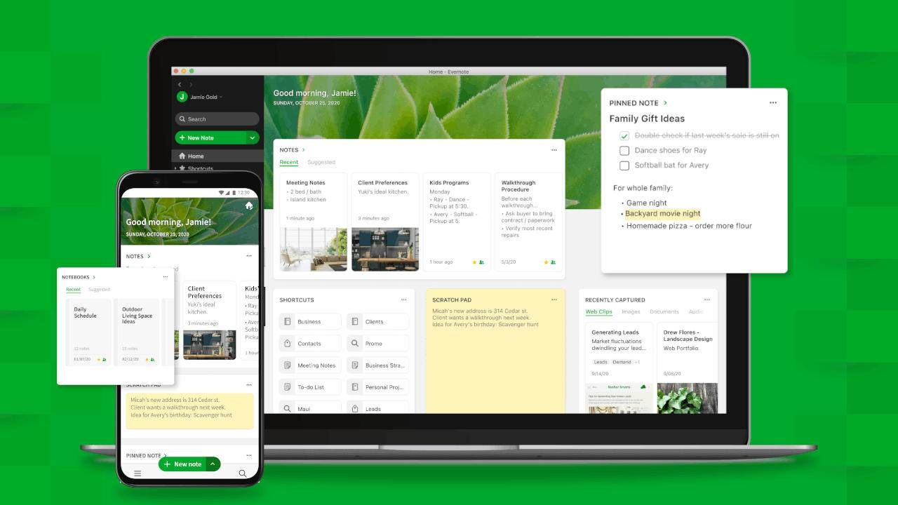 Evernote Home adds a dashboard to get with the times