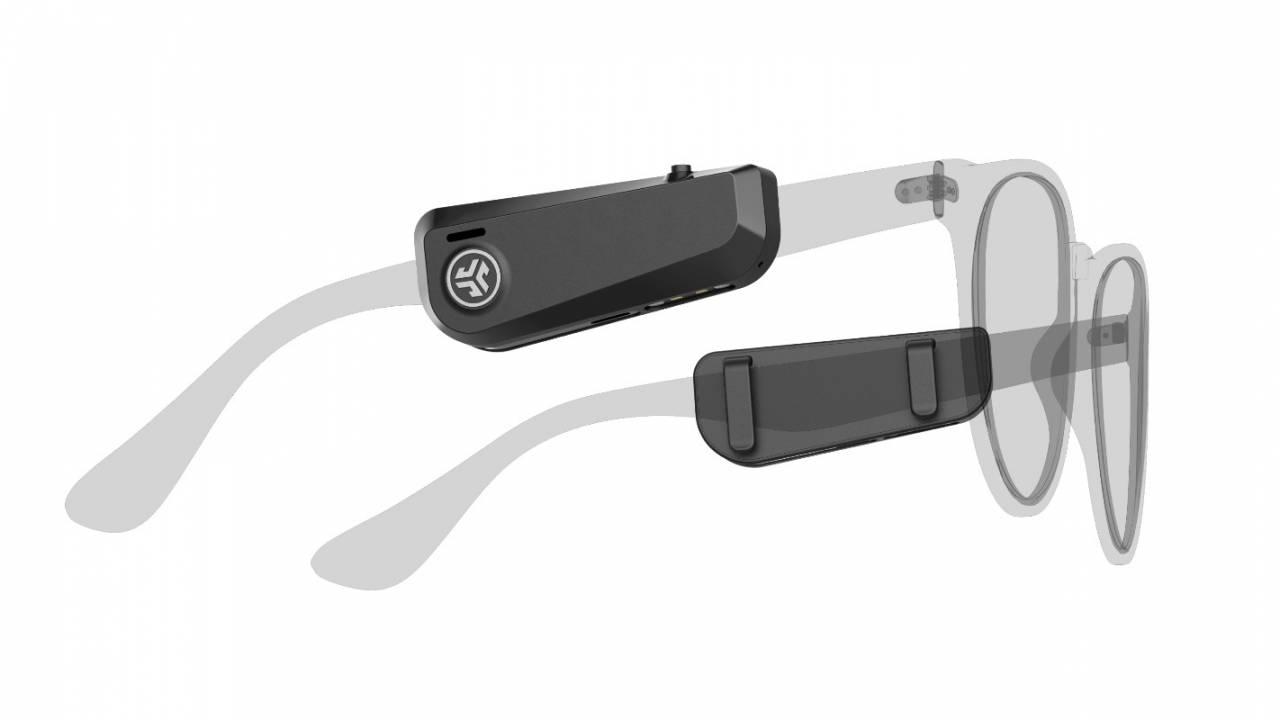 JBuds Frames true wireless open-ear speakers clip onto glasses