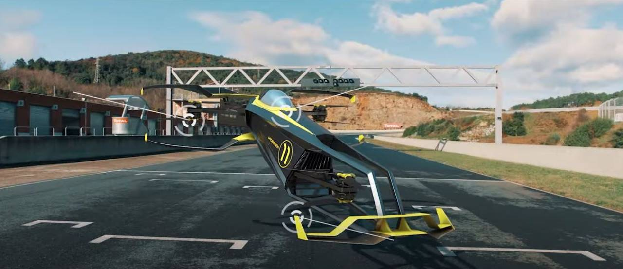 Carcopter is a hydrogen-powered F1 flying racing car