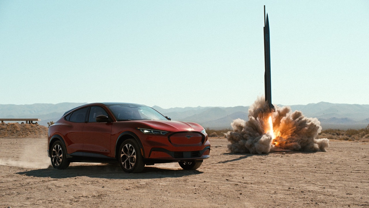 Watch the Ford Mustang Mach-E battle against gravity, lightning, and a freaking rocket