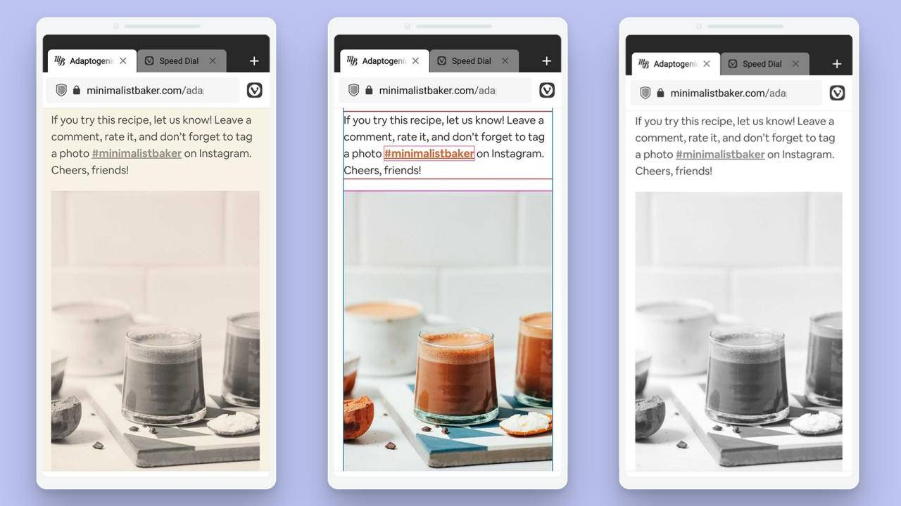 Vivaldi browser on Android lets you change how pages look