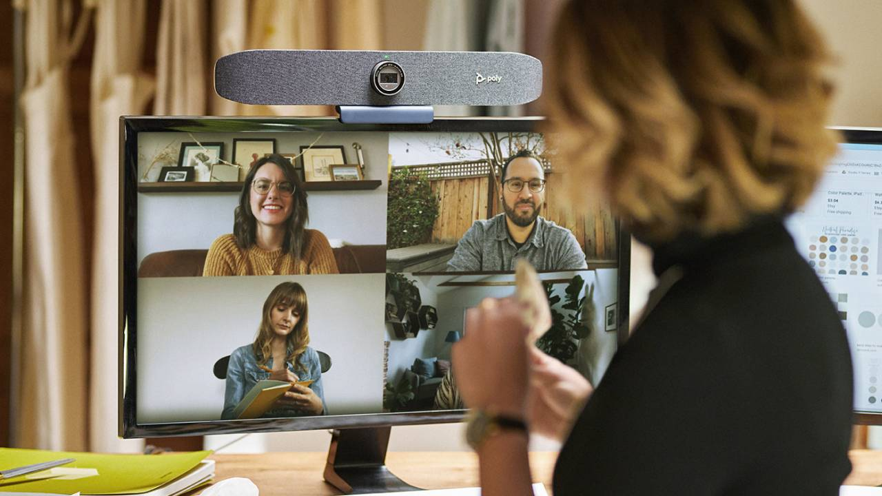Poly made a 4K auto-tracking webcam and a video call display with built-in lighting