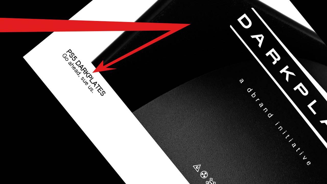 Custom black Dbrand PS5 parts dare Sony to sue