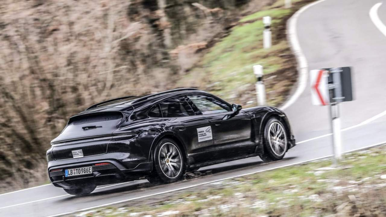 Watch the new Porsche Taycan Cross Turismo EV crossover hit the road