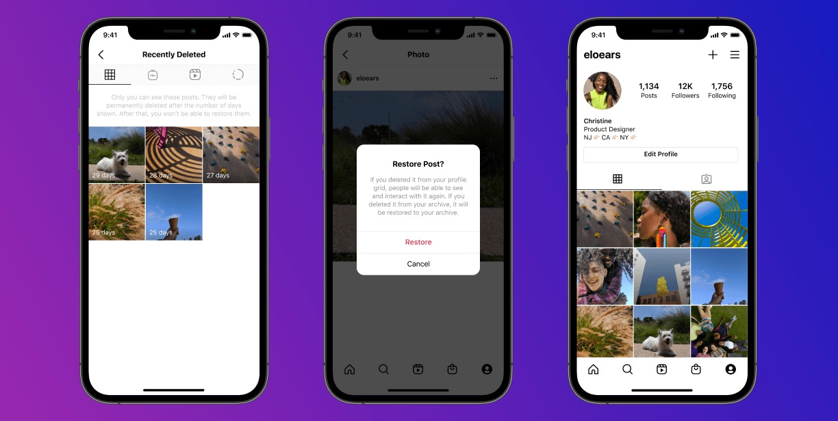 Instagram 'Recently Deleted' helps hack-recovery or changes of heart