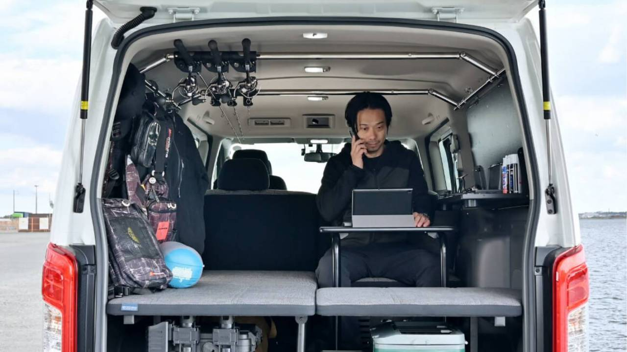 Nissan van life concept includes a tiny desk for working on the road