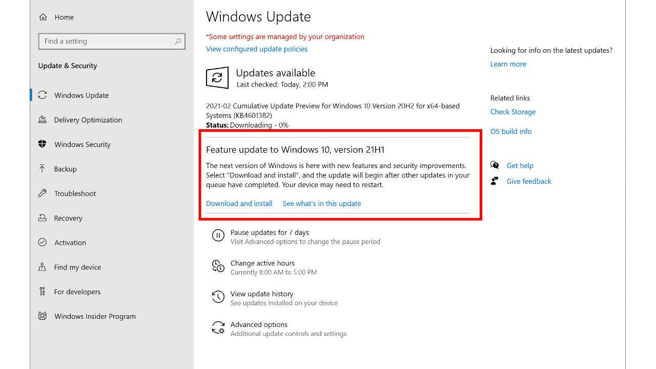 Windows 10 21H1 update promised to be small and nondisruptive