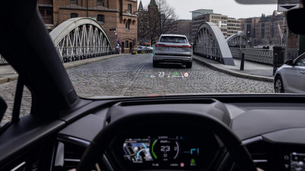 The Audi Q4 e-tron's augmented reality head-up display is dashboard genius