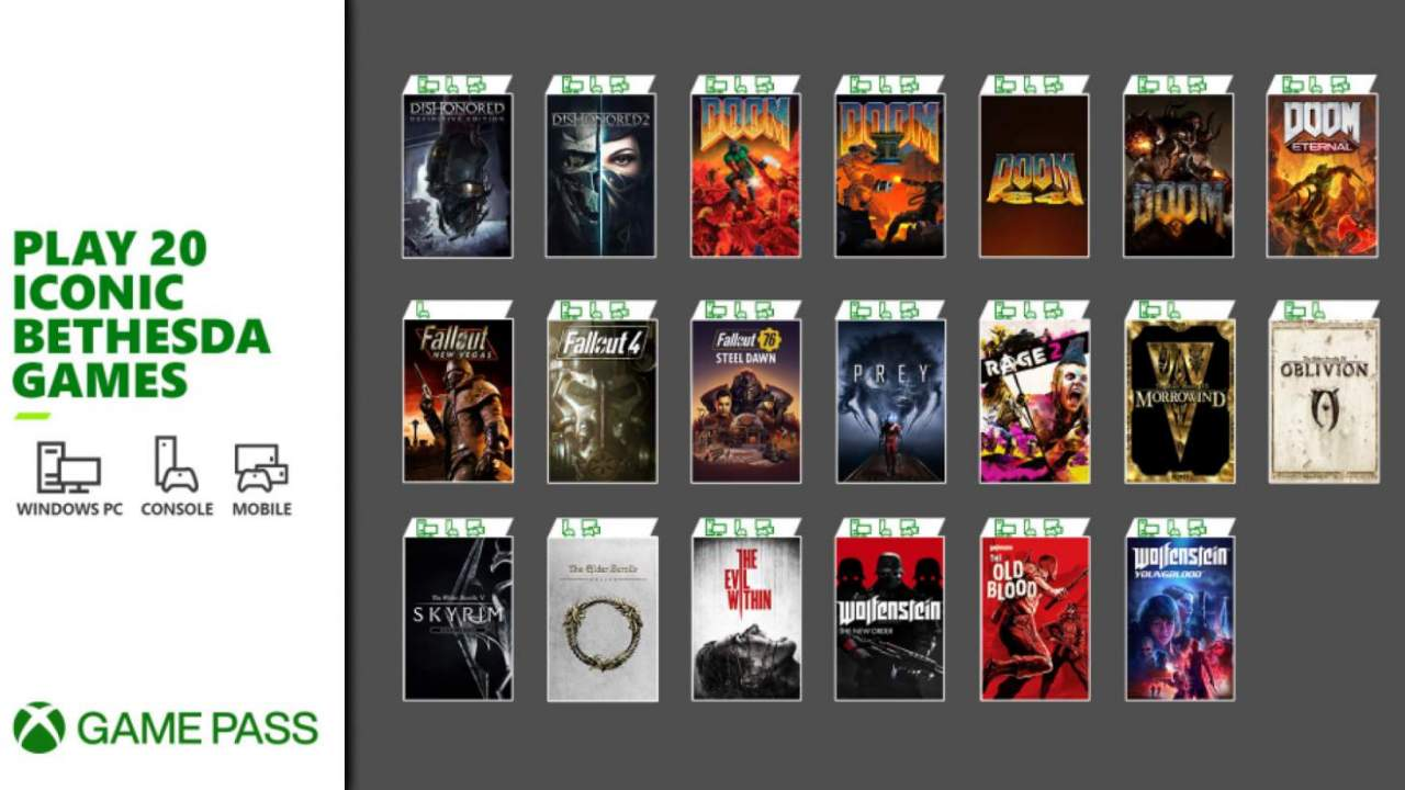 Xbox Game Pass is getting a boatload of Bethesda games tomorrow