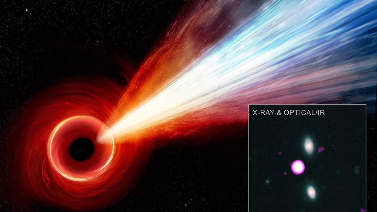 A long jet of particles streams from a supermassive black hole discovered by NASA
