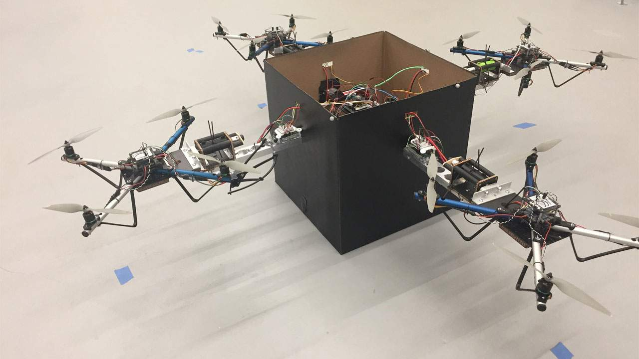 Georgia Institute of Technology system allows multiple drones to lift heavy packages