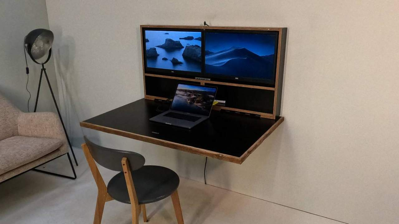 Pith & Stem's DropTop hides a full desk behind a piece of artwork