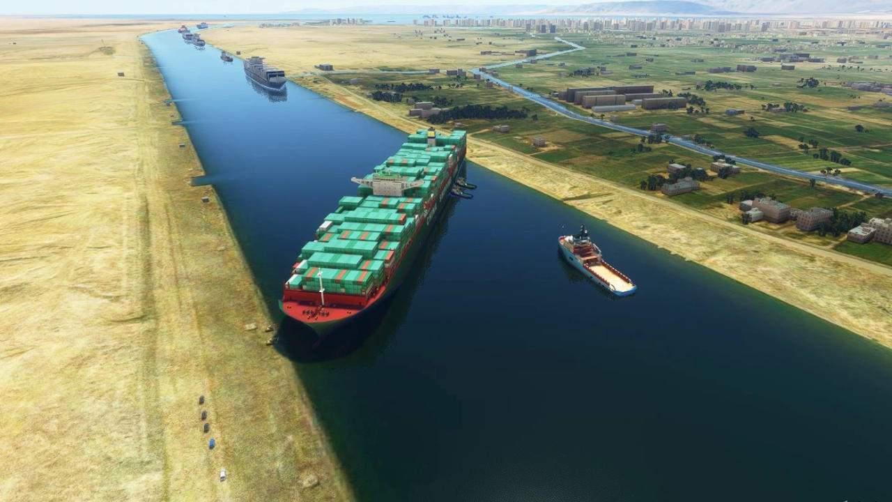 Microsoft Flight Simulator mod blocks Suez Canal with a cargo ship