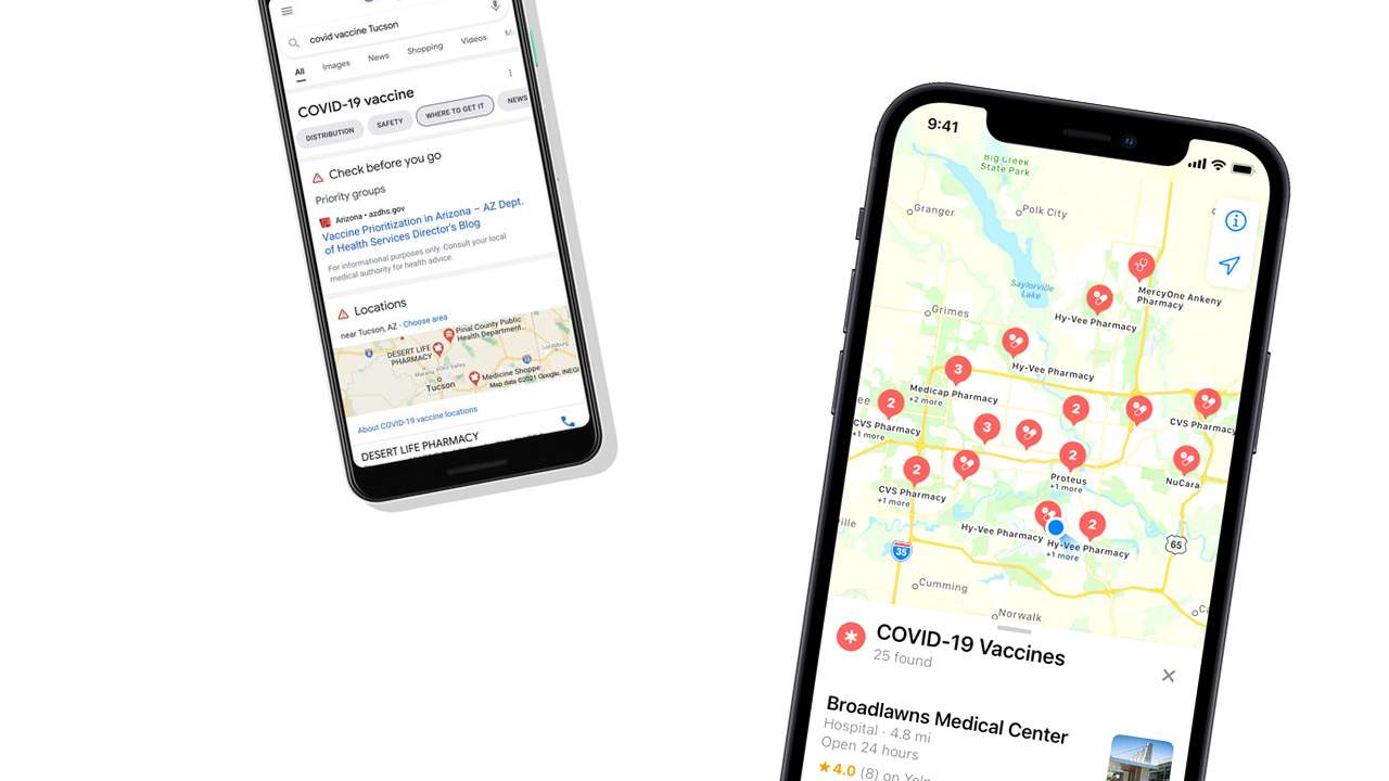 COVID-19 vaccination locations now in Apple Maps and Google Maps