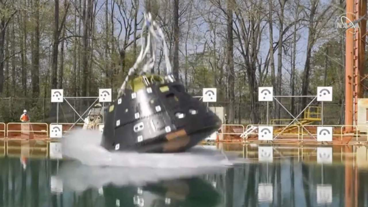 Watch NASA drop its Orion spacecraft into a million-gallon splashdown pool